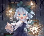 1girl :d adapted_costume bangs bare_shoulders blue_dress blue_eyes blue_flower blue_hair blue_ribbon blush bow bug butterfly cirno commentary_request dress earrings eyebrows_visible_through_hair flower green_bow hair_between_eyes hair_bow ice ice_wings insect jewelry long_sleeves open_mouth picture_frame pinafore_dress pom_pom_(clothes) ribbon shirt short_hair shoulder_cutout signature smile snowflakes solo sparkle striped striped_bow touhou toutenkou upper_body white_shirt wide_sleeves wings