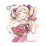 1girl artist_name blonde_hair bow bucket buttons chocojax closed_eyes dress elise_(fire_emblem_if) fire_emblem fire_emblem_heroes fire_emblem_if grin hair_bow long_hair multicolored_hair nintendo pink_dress purple_hair smile solo twintails wooden_bucket