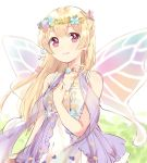 1girl bang_dream! bangs blonde_hair clenched_hand cross-laced_clothes dress fairy_wings flower flower_necklace half_updo hand_on_own_chest head_wreath highres jewelry komachi_narota long_hair looking_at_viewer necklace parted_lips shawl shirasagi_chisato solo violet_eyes wings