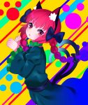 1girl animal_ears bow braid cat_ears cat_tail dress eyebrows_visible_through_hair frilled_sleeves frills hair_bow hair_ribbon kaenbyou_rin looking_at_viewer multiple_tails open_mouth patterned_background paw_pose red_eyes redhead ribbon short_hair_with_long_locks slit_pupils solo tail touhou tress_ribbon twin_braids two_tails wide_sleeves yuujin_(mhhnp306)