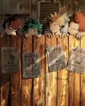 4boys bakugou_katsuki blonde_hair boku_no_hero_academia clonion covered_mouth fence fingers freckles green_eyes green_hair highres horns instagram_username kirishima_eijirou leaf looking_at_viewer looking_to_the_side male_focus midoriya_izuku multicolored_hair multiple_boys open_mouth outdoors parted_lips plant red_eyes redhead sharp_teeth short_hair teeth todoroki_shouto two-tone_hair wanted white_hair wood wooden_fence
