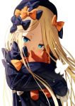 1girl abigail_williams_(fate/grand_order) absurdres bangs black_bow black_dress black_hat blonde_hair blue_eyes bow commentary_request covered_mouth dress fate/grand_order fate_(series) forehead hair_bow hat head_tilt highres long_hair long_sleeves looking_at_viewer object_hug orange_bow parted_bangs polka_dot polka_dot_bow print_bow sanbe_futoshi simple_background sleeves_past_fingers sleeves_past_wrists solo star star_print stuffed_animal stuffed_toy teddy_bear upper_body very_long_hair white_background