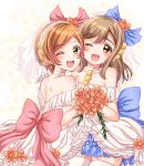 blue_ribbon brown_eyes brown_hair dress eneco flower highres hoshizora_rin kunikida_hanamaru love_live! love_live!_school_idol_project love_live!_sunshine!! love_wing_bell one_eye_closed orange_hair red_ribbon ribbon shoulders smile wedding_dress white_background yellow_eyes