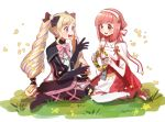 2girls black_bow black_gloves blonde_hair bow ddomy_pangin dress earrings elise_(fire_emblem_if) fire_emblem fire_emblem_if gloves grass hair_bow hairband highres jewelry long_hair multicolored_hair multiple_girls nintendo open_mouth petals pink_bow pink_hair purple_hair sakura_(fire_emblem_if) short_hair sitting twintails violet_eyes wreath