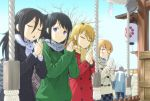 ;) argyle argyle_scarf black_coat black_hair blonde_hair blush closed_eyes coat crowd duffel_coat freckles fur_scarf green_jacket happy_new_year hatsumoude ichikawa_masahiro jacket kuroki_tomoko looking_at_another mittens multiple_girls new_year one_eye_closed own_hands_together plaid plaid_scarf plaid_skirt praying red_coat scarf shrine sideways_glance skirt smile tamura_yuri tanaka_mako triangle_mouth uchi_emiri violet_eyes watashi_ga_motenai_no_wa_dou_kangaetemo_omaera_ga_warui! white_coat yellow_scarf yoshida_masaki