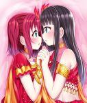 2girls aqua_eyes black_hair hand_holding highres incest inferno_phoenix kurosawa_dia kurosawa_ruby long_hair love_live! love_live!_sunshine!! mizukoshi_(marumi) mole mole_under_mouth multiple_girls redhead short_twintails siblings sisters twintails