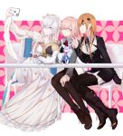 3girls anastasia_(fate/grand_order) bangs black-framed_eyewear black_dress black_footwear black_jacket black_legwear black_ribbon blue_cloak blue_eyes boots brown_footwear brown_hair brown_legwear cellphone chair cloak closed_eyes closed_mouth collared_dress commentary_request creature crown dress eyebrows_visible_through_hair eyepatch eyes_visible_through_hair fate/grand_order fate_(series) fou_(fate/grand_order) glasses hair_over_one_eye hairband highres holding holding_cellphone holding_phone jacket kurogiri light_brown_hair long_dress long_hair long_sleeves mash_kyrielight mini_crown multiple_girls neck_ribbon necktie on_chair open_clothes open_jacket ophelia_phamrsolone pantyhose parted_lips phone pleated_dress red_neckwear ribbon royal_robe shirt silver_hair sitting sleeves_past_wrists smartphone smile table taking_picture v very_long_hair white_dress white_jacket white_shirt