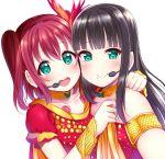 2girls aqua_eyes black_hair commentary commentary_request highres inferno_phoenix kurosawa_dia kurosawa_ruby long_hair love_live! love_live!_sunshine!! mizukoshi_(marumi) mole mole_under_mouth multiple_girls redhead short_twintails siblings sisters twintails