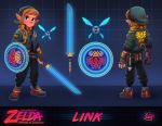 adapted_costume belt belt_pouch blue_eyes brown_hair commentary cyberpunk cyborg drone energy_sword english_commentary fingerless_gloves full_body gloves hat high_collar highres jacket link luigi_lucarelli master_sword mechanical_arm multiple_belts multiple_views navi neon_trim nintendo nose pants pointy_ears pouch shield shoes short_hair single_fingerless_glove single_glove sleeves_pushed_up sneakers solo_focus sword the_legend_of_zelda the_legend_of_zelda:_ocarina_of_time triforce weapon young_link