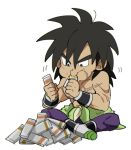+++ 1boy bidarian black_eyes black_hair boots broly_(dragon_ball_super) candy candy_bar chibi clenched_hands dragon_ball dragon_ball_super_broly eating food frown full_body legs_crossed looking_down male_focus nipples puffy_cheeks purple_legwear scar shaded_face shirtless short_hair simple_background sitting spiky_hair white_background wristband
