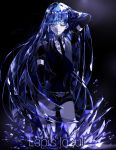 1other androgynous blue_eyes blue_hair character_name colored_eyelashes crystal crystal_hair dark_background elbow_gloves gem_uniform_(houseki_no_kuni) gloves hand_in_hair highres hime_cut houseki_no_kuni lapis_lazuli_(gemstone) lapis_lazuli_(houseki_no_kuni) light_smile long_hair looking_at_viewer necktie one_eye_closed solo