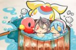 1boy 1girl aqua_(fire_emblem_if) bathing blue_hair chibi fire_emblem fire_emblem_if lilith_(fire_emblem_if) male_my_unit_(fire_emblem_if) my_unit_(fire_emblem_if) nintendo one_eye_closed pointy_ears red_eyes rubber_duck shiratsu_(white-seaside) smile steam towel towel_on_head white_hair yellow_eyes