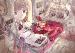 1girl bed blonde_hair blurry_foreground book bookmark bookshelf braid brown_hair candle couch curtains doll doll_house dress flower grey_eyes hat indoors kinuko461 nail_polish open_book original painting_(object) petals picture_(object) pillow pink_nails red_dress red_hat sitting stained_glass string_of_flags table teapot