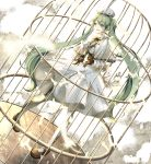 1girl :o argyle argyle_legwear bow brown_bow brown_footwear brown_gloves brown_neckwear cage dress feathers full_body gloves green_eyes green_hair hat hatsune_miku highres long_hair long_sleeves nicolestar pantyhose solo standing twintails very_long_hair vocaloid white_background white_dress white_hat white_legwear yuki_miku