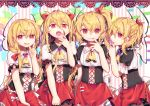 4girls absurdres alternate_costume alternate_hairstyle ascot bangs blonde_hair braid brooch commentary_request corset cowboy_shot cross eyebrows_visible_through_hair fang_out fangs fingernails flandre_scarlet four_of_a_kind_(touhou) gunjou_row hair_between_eyes hair_ribbon half_updo hand_up heart highres index_finger_raised jewelry lace_trim long_hair looking_at_viewer low_twintails miniskirt multiple_girls multiple_persona nail_polish no_hat no_headwear open_mouth parted_lips petticoat pink_background pink_nails puffy_short_sleeves puffy_sleeves red_eyes red_ribbon red_skirt ribbon sharp_fingernails sharp_teeth shirt short_sleeves side_ponytail skirt slit_pupils smile standing striped striped_background teeth touhou twintails two_side_up vertical-striped_background vertical_stripes very_long_hair white_background white_shirt yellow_neckwear