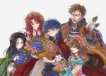 2girls 3boys basket black_hair blue_eyes blue_hair bow brother_and_sister brown_hair cape closed_eyes closed_mouth facial_mark father_and_daughter father_and_son feathers fire_emblem fire_emblem:_souen_no_kiseki fire_emblem_heroes flower flower_basket forehead_mark from_side green_eyes green_headband greil hand_on_another's_shoulder head_wreath headband ike kmkr long_hair long_sleeves mist_(fire_emblem) multiple_boys multiple_girls nintendo open_mouth red_eyes redhead short_hair siblings simple_background smile soren tiamat_(fire_emblem) white_background