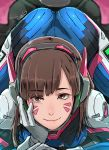 1girl artist_name ass bodysuit brown_eyes brown_hair butcha-u catherine_(game) catherine_cover_parody closed_mouth cockpit commentary_request d.va_(overwatch) eyebrows_visible_through_hair gloves hand_on_own_cheek hand_on_own_face headphones highres looking_at_viewer lying medium_hair on_stomach overwatch parody pilot_suit revision smile solo straddling top-down_bottom-up whisker_markings