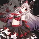 1girl :t absurdres azur_lane bangs bare_shoulders black_skirt black_sleeves blunt_bangs blush breasts brown_hair closed_mouth detached_sleeves erebus_(azur_lane) eyebrows_visible_through_hair groin highres hood hood_up long_hair long_sleeves navel pleated_skirt red_eyes shimashiro_itsuki skirt sleeves_past_fingers sleeves_past_wrists small_breasts solo striped striped_legwear sweat thigh-highs torn_clothes v-shaped_eyebrows very_long_hair wavy_mouth wide_sleeves zoom_layer