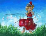 1girl blonde_hair blue_sky bright_pupils clouds contrapposto cowboy_shot cravat crystal dappled_sunlight day flandre_scarlet grin hair_between_eyes hands_on_own_face hat looking_at_viewer mob_cap outdoors petticoat psyren2 puffy_short_sleeves puffy_sleeves red_eyes red_skirt red_vest shirt short_hair short_sleeves side_ponytail skirt sky smile solo standing sunlight tall_grass teeth touhou vest white_pupils white_shirt wind wind_lift wings yellow_neckwear