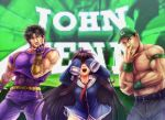 1girl 2boys abs azur_lane baseball_cap belt black_hair brown_hair commentary covering_eyes english_commentary f4f_wildcat fingerless_gloves gloves hat height_difference highres john_cena jojo_no_kimyou_na_bouken jojo_pose jonathan_joestar long_hair long_island_(azur_lane) melisaongmiqin meme multiple_boys muscle necktie no_pants open_mouth pants pixelated pose real_life red_neckwear sleeveless sleeves_past_wrists smile teeth topless trait_connection very_long_hair wristband wwe