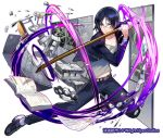 1boy belt bent black_footwear black_pants blue_eyes blue_hair book brass_knuckles cinder_block company_name cracked desk fighting_stance full_body glasses holding holding_weapon kendo_sword lock long_sleeves looking_at_viewer male_focus motion_blur official_art open_book pants school_desk shirt shoumetsu_toshi_2 tenryou_sena weapon white_background white_shirt window