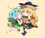 ! 2girls :t antennae bangs barefoot beige_background black_footwear black_hat blonde_hair blush boots butterfly_wings caramell0501 chibi clenched_hand closed_eyes commentary_request detached_sleeves dress eternity_larva eyebrows_visible_through_hair food green_dress green_skirt hand_up hat heart leaf long_hair long_sleeves matara_okina multiple_girls pocky pocky_kiss shared_food shirt short_hair simple_background skirt tabard touhou white_shirt wide_sleeves wings yellow_eyes yuri