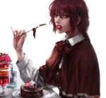 1girl blueberry bow bowtie buttons cake cape chocolate_cake dessert eating food food_in_mouth fruit highres long_sleeves looking_at_viewer medium_hair okazaki_yumemi raspberry realistic red_eyes redhead saliva strawberry tagme touhou touhou_(pc-98) whipped_cream white_background yuriya_(riyuclock_19)