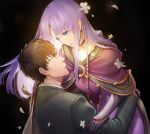 1boy 1girl black_background black_jacket blue_eyes brown_eyes brown_hair carrying caster choker collarbone couple dress eye_contact eyebrows_visible_through_hair fate/stay_night fate_(series) floating_hair glasses jacket jewelry kuzuki_souichirou long_hair long_sleeves looking_at_another parted_lips purple_capelet purple_dress purple_hair ring simple_background smile touyama_sabu very_long_hair wedding_ring