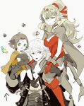 1boy 2girls blush boots breasts cape carrying carrying_over_shoulder chiki choker cleavage collarbone commentary_request dress fa facial_mark fire_emblem fire_emblem:_fuuin_no_tsurugi fire_emblem:_kakusei fire_emblem_heroes forehead_mark gimurei gloves green_eyes greyscale hair_ornament hair_ribbon highres jewelry long_hair male_my_unit_(fire_emblem:_kakusei) mamkute medium_breasts monochrome multiple_girls my_unit_(fire_emblem:_kakusei) nintendo open_mouth person_carrying pointy_ears ponytail red_choker red_dress red_eyes red_footwear red_gloves ribbon sasaki_(dkenpisss) short_hair signature spot_color white_hair yellow_dress