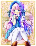 1girl :d bangs blue_bow blue_dress blue_eyes blue_hair blue_ribbon blush bow brooch brown_footwear chocolat_(momoiro_piano) collared_dress commentary_request dress eyebrows_visible_through_hair fang gradient_hair hand_up jewelry knees_together_feet_apart long_hair looking_at_viewer multicolored_hair open_mouth original pantyhose puffy_short_sleeves puffy_sleeves purple_hair ribbon shirt shoe_soles shoes short_sleeves sitting sleeveless sleeveless_dress smile solo very_long_hair white_legwear white_shirt