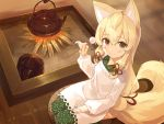 1girl animal_ears apron bangs blonde_hair blush brown_eyes burning closed_mouth copyright_request cura eyebrows_visible_through_hair fire firewood fox_ears fox_girl fox_tail from_above green_kimono hair_between_eyes hair_ribbon hand_up highres holding indoors japanese_clothes kappougi kimono lap_pillow_invitation long_hair long_sleeves looking_at_viewer looking_up mimikaki non-web_source puffy_long_sleeves puffy_sleeves red_ribbon ribbon seiza sitting smile solo tail teapot very_long_hair white_apron wooden_floor