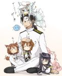 1boy 4girls 6+others admiral_(kantai_collection) akatsuki_(kantai_collection) animal_ears black_hair black_legwear black_sailor_collar black_skirt brown_eyes brown_hair cat_ears cat_tail failure_penguin flat_cap folded_ponytail hair_ornament hairclip hammer_and_sickle hat hibiki_(kantai_collection) highres ikazuchi_(kantai_collection) inazuma_(kantai_collection) kantai_collection kemonomimi_mode long_hair military military_uniform miss_cloud multiple_girls multiple_others naval_uniform neckerchief nonono_(mino) o_o on_head one_eye_closed pantyhose peaked_cap person_on_head pleated_skirt red_neckwear sailor_collar school_uniform serafuku short_hair silver_hair simple_background skirt tail tail_wagging thigh-highs uniform verniy_(kantai_collection) white_background white_hat