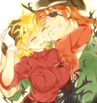 1boy 1girl bangs belt black_gloves blonde_hair braid breasts brown_hair closed_eyes couple emblem eyebrows_visible_through_hair false_limb fang gloves green_shirt grin hellsing hug kayama_(fukayama) large_breasts low_twintails lowres military military_uniform open_mouth pip_bernardotte red_shirt scarf seras_victoria shirt short_hair simple_background sleeves_rolled_up smile taut_clothes taut_shirt thigh-highs twintails uniform vampire zettai_ryouiki
