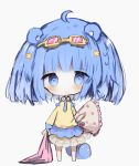 1girl :o animal_ears bangs barefoot blanket blue_bow blue_eyes blue_hair blue_neckwear blush bow chibi collared_shirt commentary_request cottontailtokki eyebrows_visible_through_hair eyewear_on_head frilled_pillow frills full_body grey_background hair_ornament highres holding_blanket long_sleeves necktie original parted_lips pillow pillow_hug pink-tinted_eyewear shirt simple_background skirt solo standing star star_hair_ornament tail white_skirt yellow-framed_eyewear yellow_shirt
