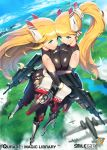 2girls aircraft airplane bare_shoulders blonde_hair blue_eyes bodysuit breast_press elbow_gloves from_above gloves green_eyes gun hand_on_ass large_breasts ningu ponytail qurare_magic_library rifle symmetrical_docking twin_mustang_(qurare) twins weapon