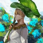 1boy blonde_hair casual clouds cloudy_sky fate/zero fate_(series) flower gilgamesh hydrangea jewelry leaf_umbrella male_focus necklace pvc_parfait rain red_eyes sky solo
