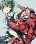 1boy black_eyes body_markings character_request digimon eyebrows_visible_through_hair green_hair grey_background guilmon hatching_(texture) highres male_focus monster parted_lips red_skin short_hair simple_background sketch smile tail takase_(takase1214) teeth white_wristband wristband yellow_eyes