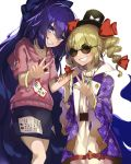 2girls absurdly_long_hair arm_up bangle belt blonde_hair blue_coat blue_eyes blue_hair blue_skirt bow bracelet breasts coat collarbone commentary_request cowboy_shot debt drawstring dress drill_hair earrings emerald_(gemstone) eyes_visible_through_eyewear flat_chest grin hair_between_eyes hair_bow hair_ribbon hand_on_another's_arm hand_on_another's_shoulder hat head_tilt head_to_head high_collar hood hood_down jewelry long_hair long_sleeves multiple_girls open_clothes open_coat pink_hoodie piyodesu ribbon ring ruby_(gemstone) sapphire_(gemstone) sharp_teeth short_sleeves siblings simple_background sisters skirt small_breasts smile sunglasses teeth top_hat touhou twin_drills very_long_hair w white_background white_dress yellow_eyes yorigami_jo'on yorigami_shion