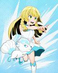 1girl alolan_vulpix blonde_hair creatures_(company) dress game_freak gen_1_pokemon green_eyes kaz-low lillie_(pokemon) nintendo open_mouth pokemon pokemon_(game) pokemon_sm vulpix white_dress