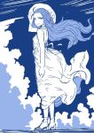 1girl blue_hair breasts chrono_trigger clouds commentary_request dress hat long_hair open_mouth queen_zeal s-a-murai sky solo