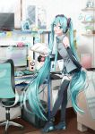 1girl absurdres agonasubi aqua_eyes aqua_hair bangs bare_shoulders belt blush book chair clock commentary computer computer_tower desk detached_sleeves figure folder from_side full_body gatebox hair_between_eyes hatsune_miku headphones highres holding holding_book instrument keyboard_(computer) leaning_forward long_hair mouse musical_note necktie photo_(object) piano picture_frame shelf skirt smile solo speaker spoken_musical_note spring_onion standing sticky_note thigh-highs twintails very_long_hair vocaloid zettai_ryouiki