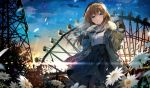 1girl aran_sweater black_legwear blue_eyes blue_skirt blue_sky blush breasts breathing brown_coat clouds coat coffee_cup commentary_request cup disposable_cup ferris_wheel floating_hair flower fur-trimmed_coat fur_trim high-waist_skirt hirai_yuzuki holding holding_cup jewelry lens_flare light_particles long_hair looking_at_viewer multicolored multicolored_sky necklace open_clothes open_coat original pantyhose parted_lips pearl_necklace signature skirt sky smile solo steam sunrise sweater turtleneck turtleneck_sweater white_flower white_sweater wind wind_lift yellow_sky