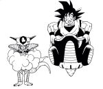 2boys annoyed black_eyes black_hair clenched_teeth commentary_request crossed_arms dougi dragon_ball flying_nimbus flying_vehicle frieza frown grin height_difference highres horns lee_(dragon_garou) looking_at_another looking_at_viewer male_focus monochrome multiple_boys short_hair simple_background sitting smile son_gokuu space_craft spiky_hair standing sweatdrop teeth white_background wristband