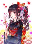 1girl arrow back_bow bangs bell black_kimono blunt_bangs bow breasts colored_stripes commentary_request eyebrows_visible_through_hair floral_background flower frilled_bow frills hair_bow hair_flower hair_ornament hamaya holding_arrow japanese_clothes jingle_bell kimono long_sleeves looking_at_viewer multicolored multicolored_eyes multicolored_hair obi original own_hands_together parted_lips pink_eyes ponytail print_kimono red_bow red_flower redhead sash sidelocks soen solo striped striped_bow tassel two-tone_hair wide_sleeves yellow_bow yellow_eyes