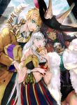 1boy 2girls american_flag anastasia_(fate/grand_order) animal_ears arthur_pendragon_(fate) blonde_hair city coat cup dark_skin disposable_cup doll drinking_straw eating fate/grand_order fate_(series) food food_in_mouth food_on_face french_fries fur_coat hamburger hat long_hair multiple_girls nail_polish purple_hair pvc_parfait queen_of_sheba_(fate/grand_order) scarf silver_hair skirt twitter_username