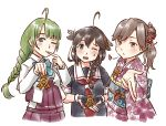 3girls ahoge alternate_costume alternate_hairstyle arashio_(kantai_collection) black_gloves black_hair black_serafuku blue_eyes bow bowtie braid brown_eyes brown_hair dress eyebrows_visible_through_hair finger_to_mouth fingerless_gloves flower furisode gloves green_hair hair_flaps hair_flower hair_ornament hair_over_shoulder halterneck heart japanese_clothes kantai_collection karasu_(naoshow357) kimono long_hair looking_at_viewer medal mole mole_under_mouth multiple_girls obi one_eye_closed remodel_(kantai_collection) sash school_uniform serafuku shigure_(kantai_collection) shirt simple_background single_braid upper_body very_long_hair white_background white_shirt yuugumo_(kantai_collection)