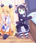 2girls animal_ears aqua_eyes bangs beamed_eighth_notes bedroom beige_fur bell black_footwear black_hair black_legwear black_neckwear blonde_hair bow bowtie cat_ears cat_girl cat_tail cellphone center_frills claws collared_shirt commentary curly_hair cyan_(show_by_rock!!) dress_shirt dropping eighth_note furry glasses gothic_lolita green_eyes hands_up highres indoors jingle_bell kyuuri_(miyako) lolita_fashion long_hair long_sleeves looking_at_viewer maid_headdress mary_janes miniskirt multicolored multicolored_eyes multiple_girls musical_note on_floor open_mouth orange_skirt outstretched_arms phone pleated_skirt quarter_rest red_neckwear retoree ringlets shirt shoes short_eyebrows short_hair show_by_rock!! skirt sleeves_rolled_up smartphone smartphone_case staff_(music) striped striped_legwear tail thigh-highs treble_clef tsurime twintails very_long_hair white_fur white_shirt wing_collar wooden_floor yellow_eyes zettai_ryouiki