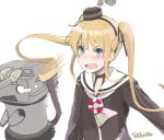 1girl :d amatsukaze_(kantai_collection) amatsukaze_(kantai_collection)_(cosplay) artist_name bangs blonde_hair blue_eyes blush commentary_request cosplay fang hat kantai_collection lifebuoy long_hair long_sleeves mini_hat open_mouth rensouhou-kun retorillo saenai_heroine_no_sodatekata sailor_collar sawamura_spencer_eriri simple_background smile twintails upper_body v-shaped_eyebrows white_background