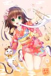 1girl 2019 :d animal bangs blush boar brown_footwear brown_hair cat chinese_zodiac chopsticks commentary_request egasumi eyebrows_visible_through_hair floral_print flower green_eyes hair_flower hair_ornament highres holding holding_chopsticks japanese_clothes kimono long_hair long_sleeves mochi mochi_trail nengajou new_year open_mouth original petals pink_flower print_kimono red_kimono round_teeth smile solo tabi teeth umitonakai upper_teeth white_legwear wide_sleeves year_of_the_pig zouri