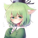 1girl :/ animal_ear_fluff animal_ears aqua_eyes bangs black_hat blush cat_ears closed_mouth commentary_request ear_wiggle eyebrows_visible_through_hair flying_sweatdrops frilled_sleeves frills from_side green_hair hair_between_eyes hand_on_own_chest hat highres kemonomimi_mode long_sleeves looking_at_viewer looking_to_the_side motion_lines pudding_(skymint_028) short_hair simple_background sleeves_past_fingers sleeves_past_wrists soga_no_tojiko solo tate_eboshi touhou upper_body white_background